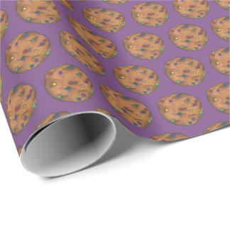 Rainbow Chocolate Chip Cookie Baking Sweets Purple Wrapping Paper