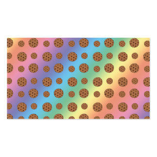 Rainbow chocolate chip cookies pattern business card
