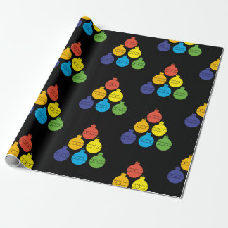 Rainbow Christmas Balls Holiday Wrapping Paper