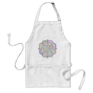 Rainbow Chromatic Mandala Flower Standard Apron
