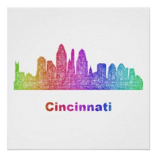 Rainbow Cincinnati skyline Perfect Poster