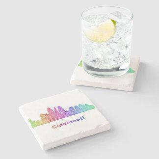 Rainbow Cincinnati skyline Stone Coaster