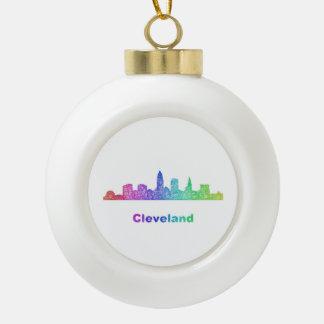 Rainbow Cleveland skyline Ceramic Ball Ornament