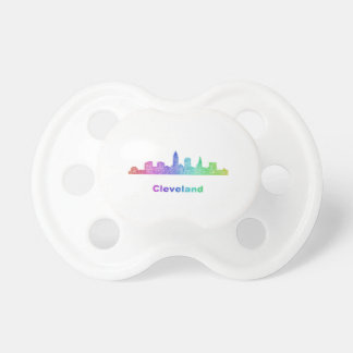 Rainbow Cleveland skyline Pacifiers
