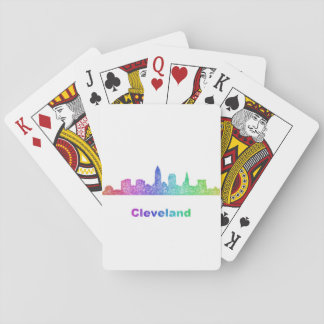 Rainbow Cleveland skyline Playing Cards