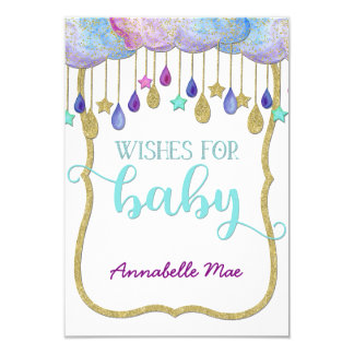 Rainbow Cloud Gold Glitter Wishes for Baby Shower Card