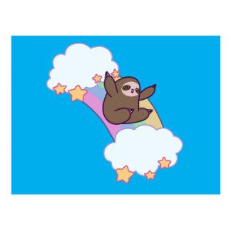 Rainbow Cloud Sloth Postcard