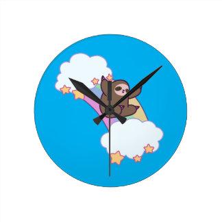 Rainbow Cloud Sloth Round Clock
