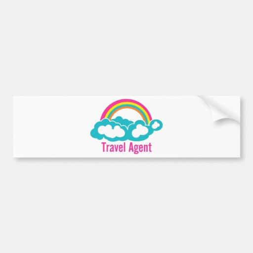 Rainbow Cloud Travel Agent Bumper Sticker