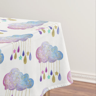 Rainbow Clouds Stars Gold Glitter Baby Shower Cute Tablecloth