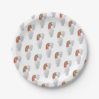 Rainbow Clouds Weather Icon Concept Paper Plate