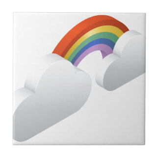 Rainbow Clouds Weather Icon Concept Tile