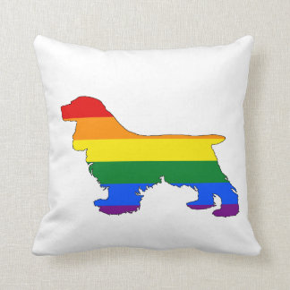 Rainbow Cocker Spaniel Throw Pillow