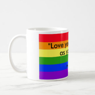 rainbow coffee mug love your neighbor