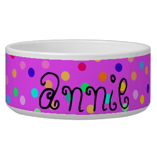 Rainbow color dots dog pet bowl