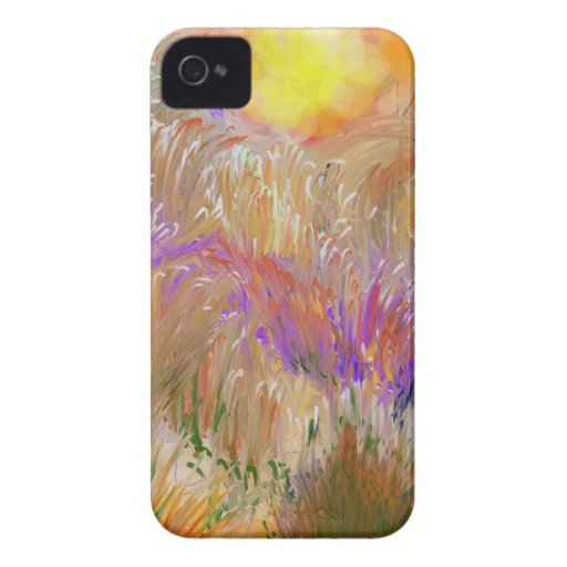 Rainbow Color Field with Sun  Painted Digitally iPhone 4 Covers