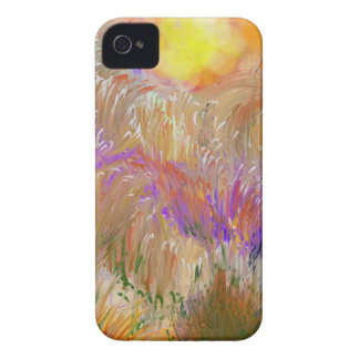 Rainbow Color Field with Sun  Painted Digitally iPhone 4 Cover