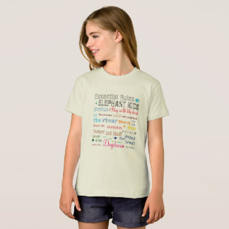 Rainbow Color Fun Kids Elephant Rules Typographic T-Shirt