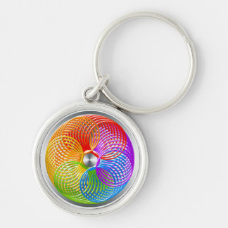 RAINBOW COLOR GRAPHICS SLINKY RING BALL Silver-Colored ROUND KEYCHAIN