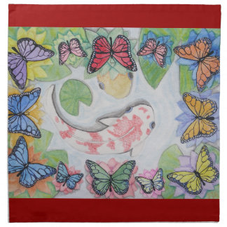 Rainbow Color Koi Fish Butterfly Pond Cloth Napkin