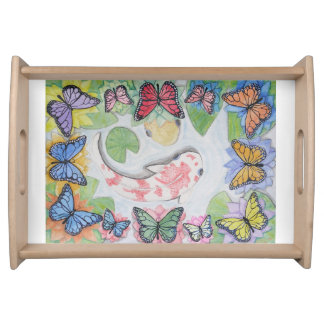 Rainbow color koi fish pond butterfly Serving Tray