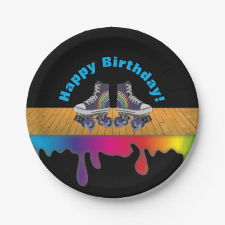 Rainbow Color Paint  Roller Skating Birthday Party Paper Plate