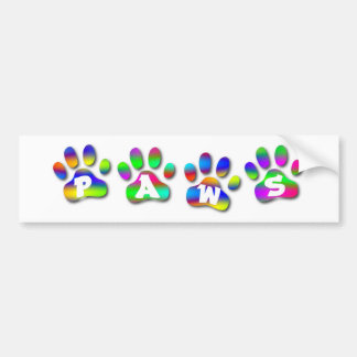 Rainbow Color Paw Prints Name Gift Tag Bookplate Bumper Sticker