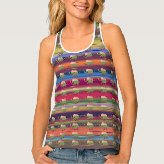 Rainbow color ringlets with elephants pattern tank top