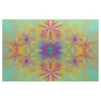 Rainbow Color Spray Floral Pinwheel Abstract Fabric
