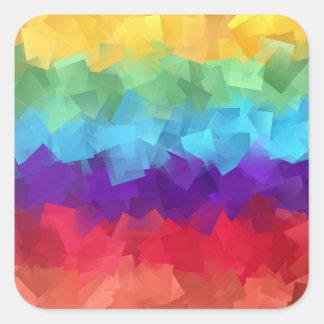 Rainbow color squares intermingle design square sticker