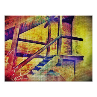 Rainbow Color Stairs And Walls Poster