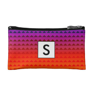 Rainbow Color Triangle Geometric Pattern Monogram Cosmetic Bag