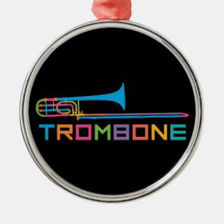 Rainbow Color Trombone Metal Ornament