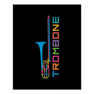 Rainbow Color Trombone Poster