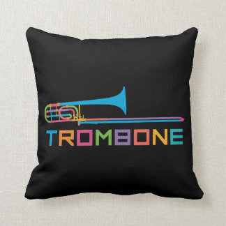 Rainbow Color Trombone Throw Pillow