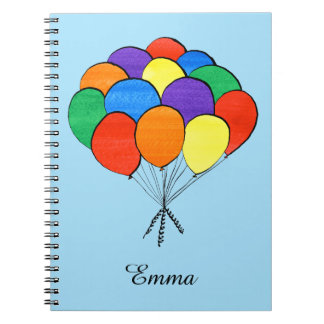 Rainbow Colored Balloons with Custom Name Notebook