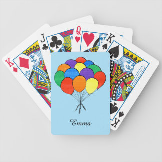 Rainbow Colored Balloons with Custom Name Poker Deck