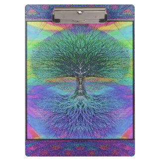 Rainbow Colored Blue and Green Tree Clipboard