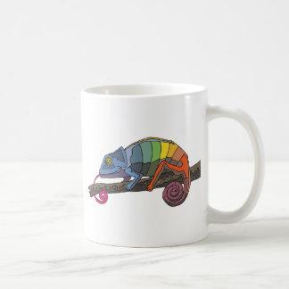Rainbow Colored Chameleon Resting on Tree Branch Coffee Mug