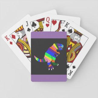 Rainbow colored dinosaur playing cards