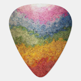 Rainbow Colored Energy Flow Stripes Guitar Pick