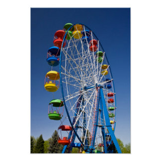 Rainbow Colored Ferris Wheel Poster
