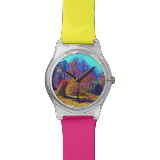 Rainbow colored field of trees wrist watches