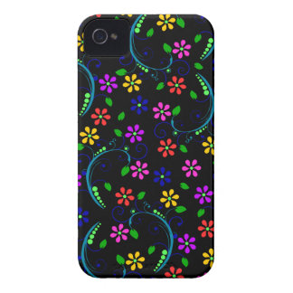 Rainbow-Colored Floral Design on Black Phone Cover