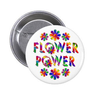 Rainbow Colored Flower Power 2 Inch Round Button