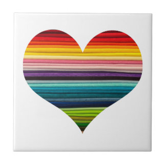 Rainbow Colored Heart Striped Tile