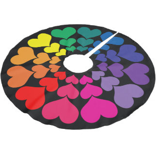 Rainbow Colored Hearts on Black Background Brushed Polyester Tree Skirt