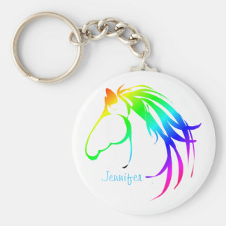 Rainbow Colored Horse Head Logo Custom Name Keychain