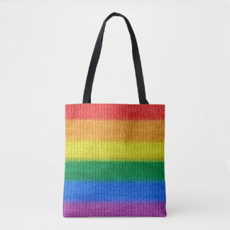 RAINBOW colored knitting Stripes seamless pattern Tote Bag