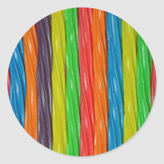 Rainbow colored licorice candy round sticker